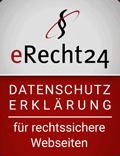 Siegel eRecht24 - Datenschutzerklärung für rechtssichere Websiten